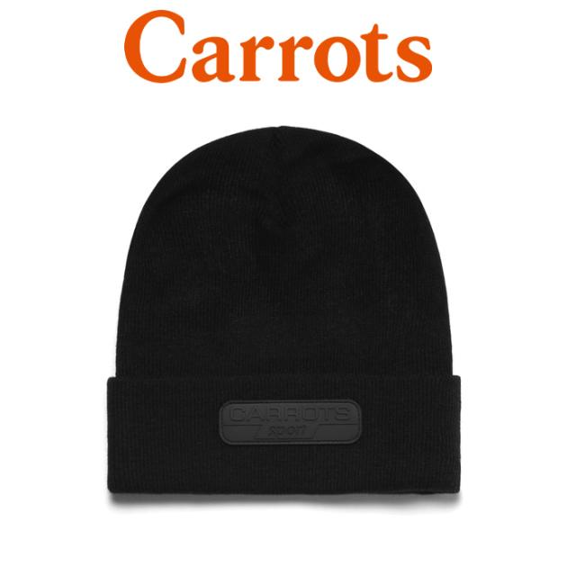 """【SALE50%OFF】 CARROTS(キャロッツ) SPORT RUBBER PATCH BEANIE 【ビーニー ニット帽 帽子】【定番 ブラック おしゃれ】 【""""Car"""