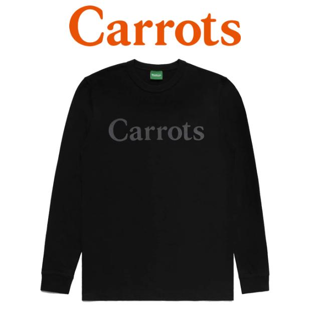 """【SALE50%OFF】 CARROTS(キャロッツ) CARROTS WORDMARK LONG SLEEVE 【ロングスリーブ ロンT 長袖】【黒 ブラック】 【""""Carrots"""""""