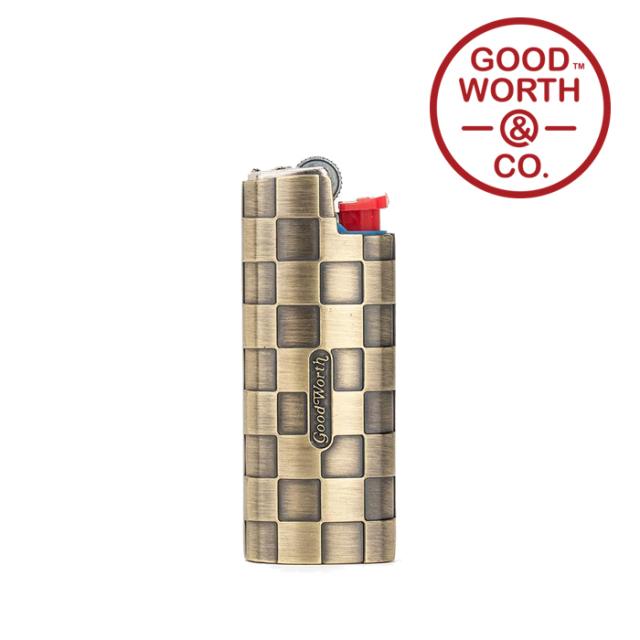 GOOD WORTH (グッドワース) & CO.   Checker Lighter Case-SMALL 【ブラス 真鍮 ライターケース】【Bic J25】