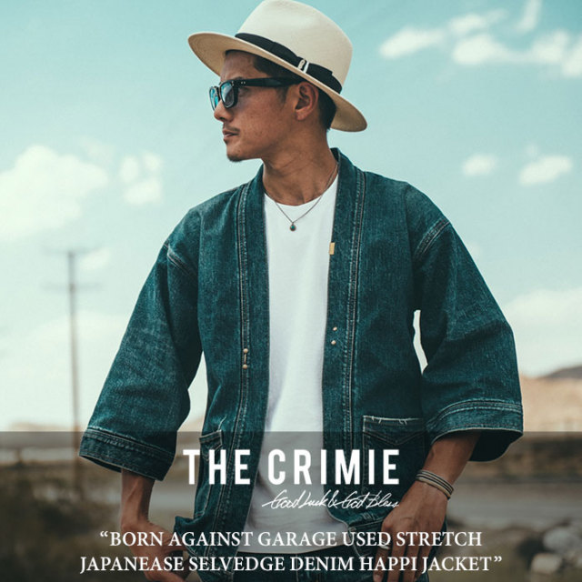 CRIMIE(クライミー) BORN AGAINST GARAGE USED STRETCH DENIM HAPPI JACKET 【2018SPRING/SUMMER先行予約】 【送料無料】【キャン