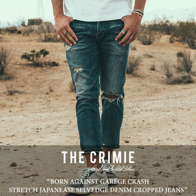【SALE30%OFF】 CRIMIE(クライミー) BORN AGAINST GAREGE CRASH STRETCH JAPANEASE SELVEDGE DENIM CROPPED JEANS 【2018SPRING/S