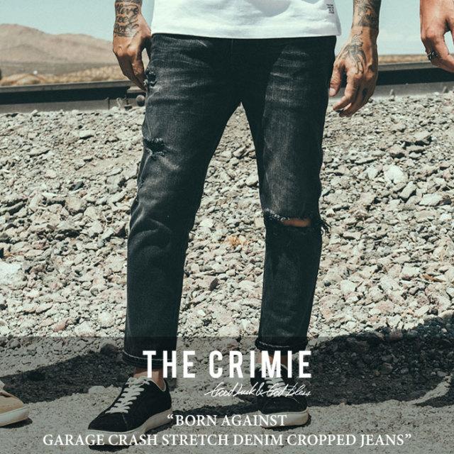 CRIMIE(クライミー) BORN AGAINST GARAGE CRASH STRETCH DENIM CROPPED JEANS 【2018SPRING/SUMMER先行予約】 【送料無料】【キャ