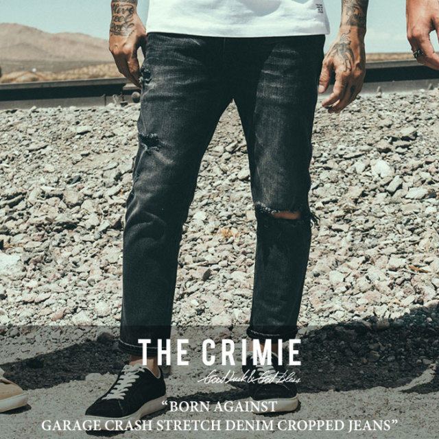 CRIMIE(クライミー) BORN AGAINST GARAGE CRASH STRETCH DENIM CROPPED JEANS 【2018SPRING/SUMMER先行予約】 【送料無料】【キャ