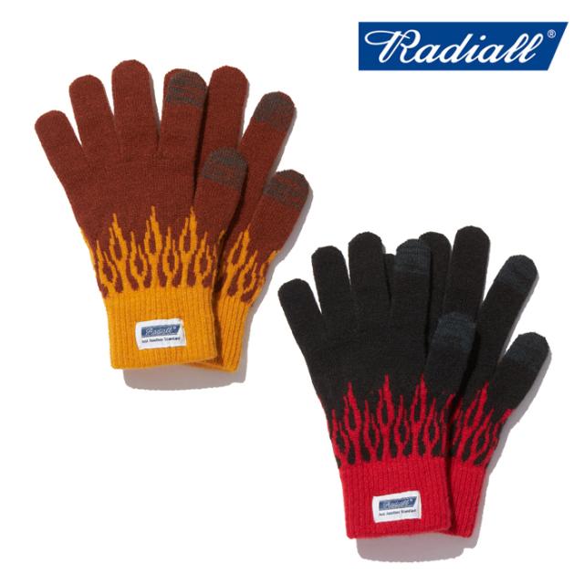 RADIALL(ラディアル) FLAMES - JACQUARD GLOVES  【ニットグローブ 手袋 メンズ フレームス柄 タッチパネル対応】【2019 AUTUMN&WI