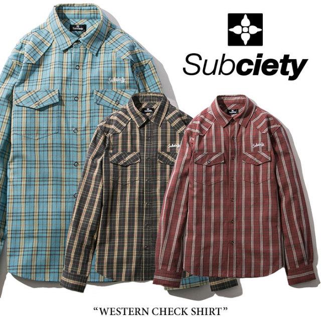 SUBCIETY(サブサエティ) WESTERN CHECK SHIRT 【2018SPRING先行予約】 【送料無料】【キャンセル不可】 【SUBCIETY シャツ】【10
