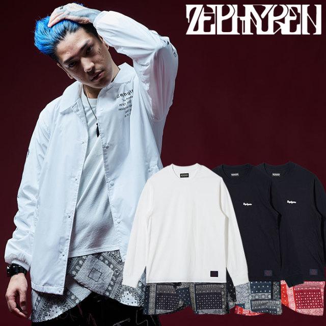 【SALE50%OFF】 ZEPHYREN(ゼファレン) メンズ カットソー Tシャツ 長袖 切り替え 【Z18AI10】[ブラック 黒 ホワイト 白 チェック バ