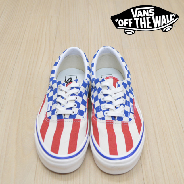 VANS(バンズ)(ヴァンズ) ERA 95 DX(ANAHEIM FACTORY) OG RED STRIPES/OG BLUE CHECK 【VANS スニーカー】【エラ】 【VN0A2RR1VYC