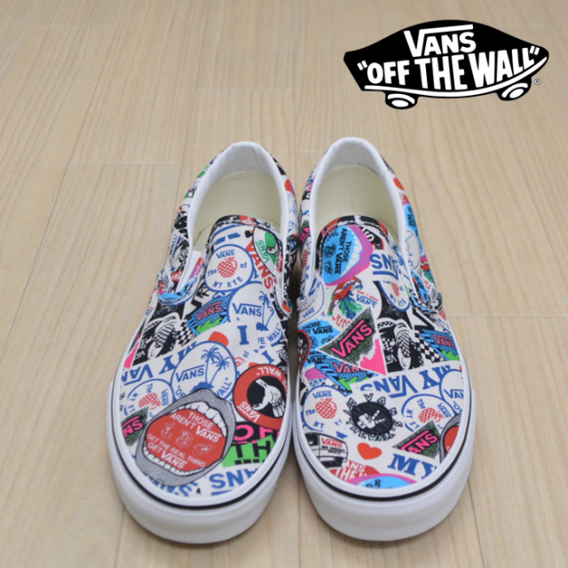 【VANS(バンズ)】 CLASSIC SLIP-ON (VANS MASH UP) STICKERS/TRUE WHITE 【VANS スニーカー】【スリッポン】【VN0A38F7VFV】