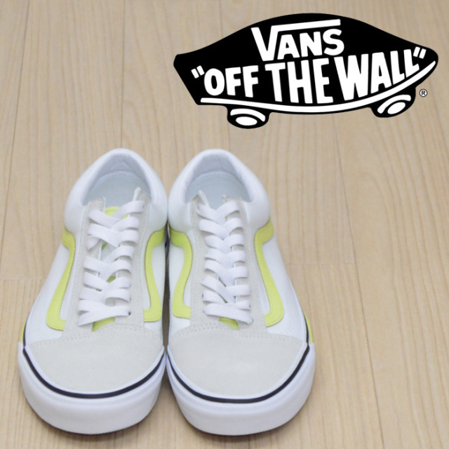 【VANS(バンズ)】 OLD SKOOL (C.B)TRUE WHITE/S.LIME 【VANS スニーカー】【オールドスクール】【VN0A38G1VR3】