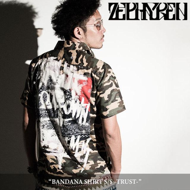 ZEPHYREN(ゼファレン) BANDANA SHIRT S/S -TRUST- 【2018SPRING/SUMMER先行予約】 【送料無料】【キャンセル不可】 【Z18PC03】