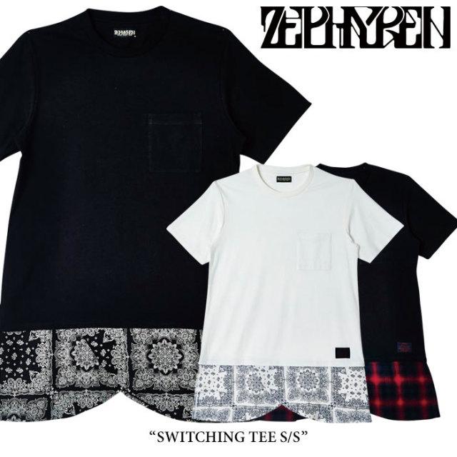 ZEPHYREN(ゼファレン) SWITCHING TEE S/S 【2018SPRING/SUMMER先行予約】 【キャンセル不可】 【Z18PH05】