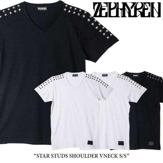 ZEPHYREN(ゼファレン) STAR STUDS SHOULDER VNECK S/S 【2018SPRING/SUMMER先行予約】 【キャンセル不可】 【Z18PL07】