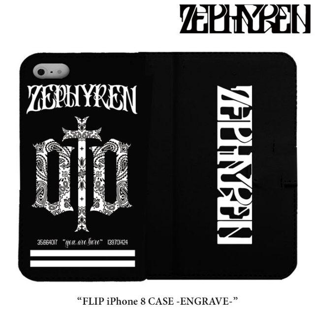 ZEPHYREN(ゼファレン) FLIP iPhone 8 CASE -ENGRAVE- 【2018SPRING/SUMMER先行予約】 【キャンセル不可】 【Z18PX06】