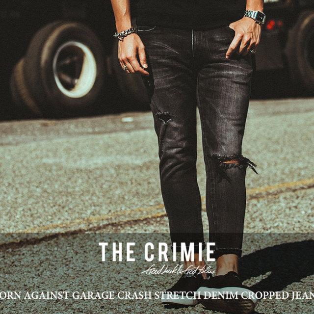CRIMIE(クライミー) BORN AGAINST GARAGE CRASH STRETCH DENIM CROPPED JEANS 【2018 SUMMER先行予約】 【送料無料】【キャンセル