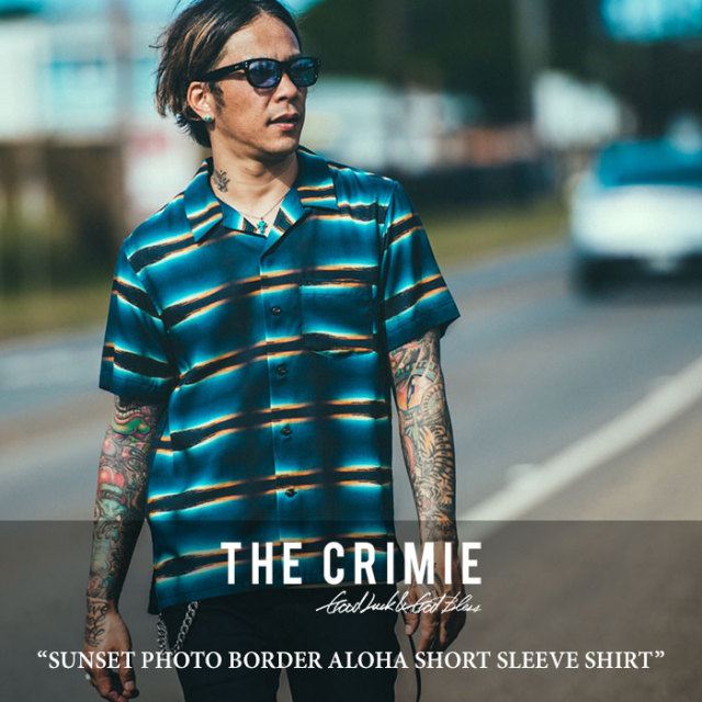 CRIMIE(クライミー) SUNSET PHOTO BORDER ALOHA SHORT SLEEVE SHIRT 【2018 SUMMER新作】 【送料無料】【即発送可能】 【C1H3-SH