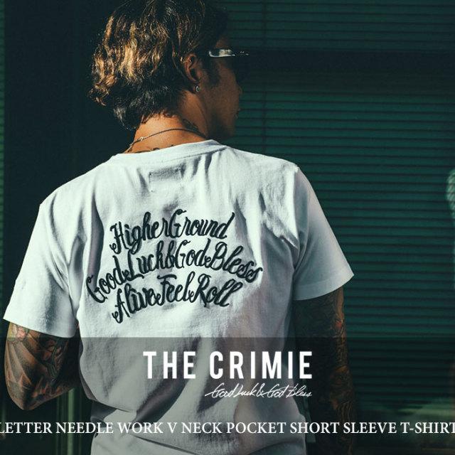 CRIMIE(クライミー) LETTER NEEDLE WORK V NECK POCKET SHORT SLEEVE T-SHIRT 【2018 SUMMER新作】【C1H3-TE03】