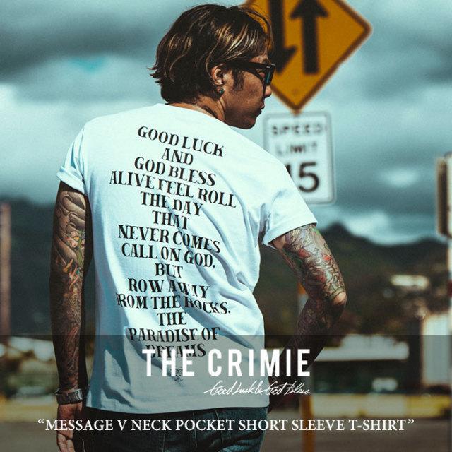 CRIMIE(クライミー) MESSAGE V NECK POCKET SHORT SLEEVE T-SHIRT 【2018 SUMMER新作】【C1H3-TE06】