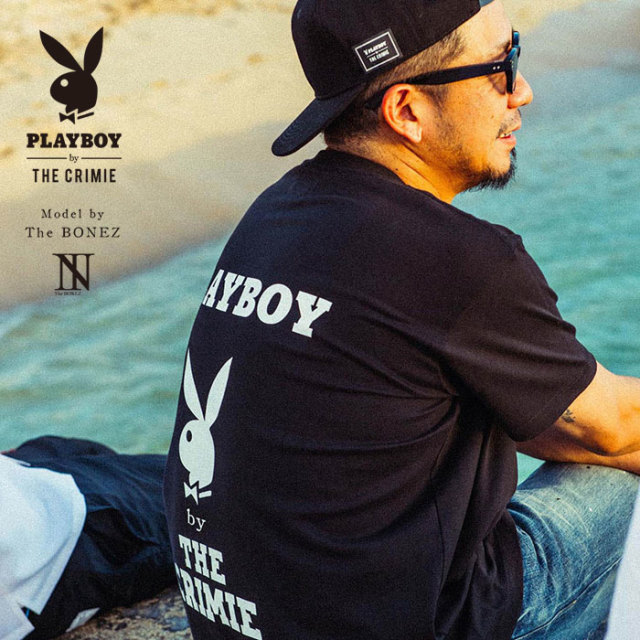 "【SALE30%OFF】 ""CRIMIE PLAYBOY SERIES"" meets The BONEZ in Hawaii PLAYBOY W LOGO T-SHIRT 【CR01-01K3-TE77】【Tシャツ セー"