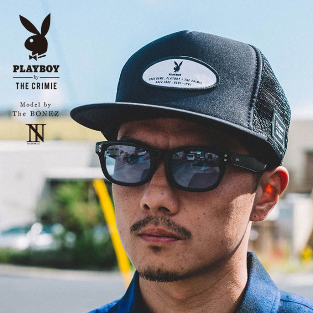 "【SALE30%OFF】 ""CRIMIE PLAYBOY SERIES"" meets The BONEZ in Hawaii PLAYBOY WAPPEN MESH CAP 【CR01-01K3-HW70】【メッシュキャ"