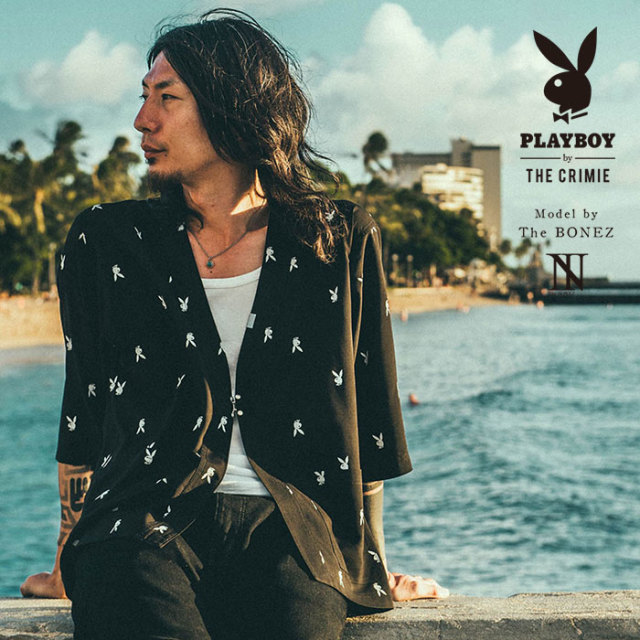 "【SALE30%OFF】 ""CRIMIE PLAYBOY SERIES"" meets The BONEZ in Hawaii PLAYBOY JINBEI SHIRT 【CR01-01K3-SH70】【甚平シャツ】"