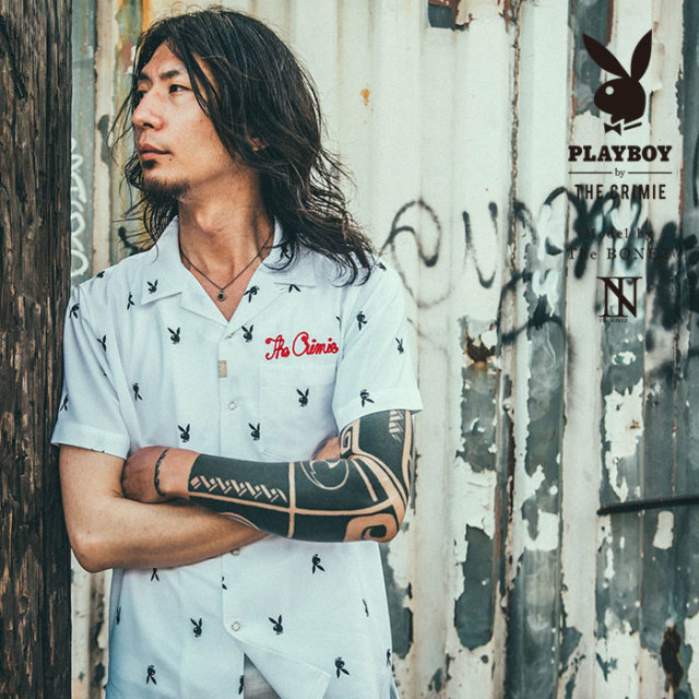 "【SALE30%OFF】 ""CRIMIE PLAYBOY SERIES"" meets The BONEZ in Hawaii PLAYBOY SHIRT 【CR01-01K3-SH71】【シャツ セール】【送料"