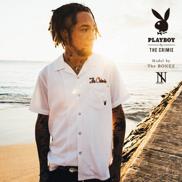 "【SALE30%OFF】 ""CRIMIE PLAYBOY SERIES"" meets The BONEZ in Hawaii PLAYBOY BED PHOTO SHIRT 【CR01-01K3-SH73】【フォト シャ"