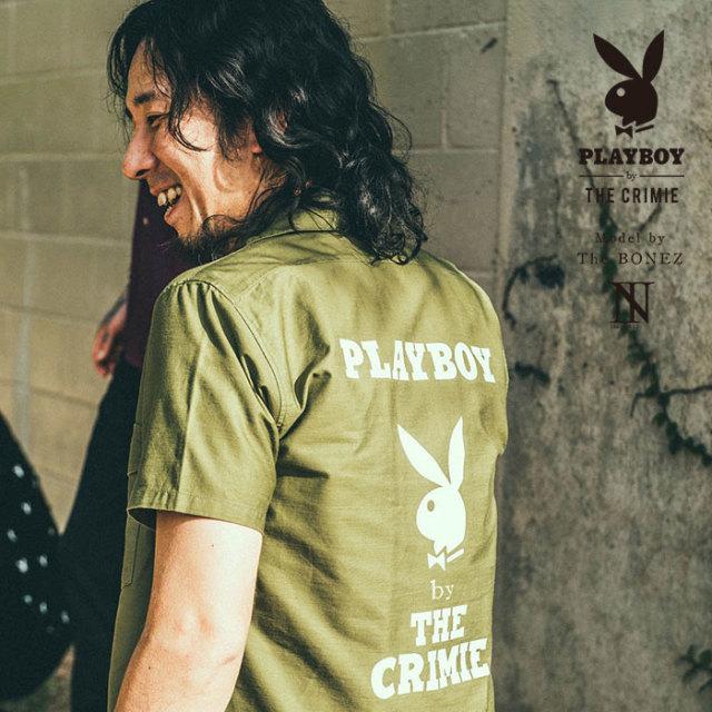 """CRIMIE PLAYBOY SERIES"" meets The BONEZ in Hawaii PLAYBOY MILITARY SHIRT 【CR01-01K3-SH77】【シャツ】 【PLAYBOY】【The BO"