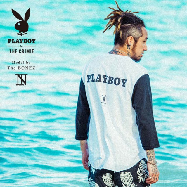 "【SALE30%OFF】 ""CRIMIE PLAYBOY SERIES"" meets The BONEZ in Hawaii PLAYBOY BASEBALL T-SHIRT 【CR01-01K3-TE71】【ベースボー"