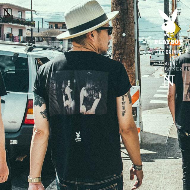 """CRIMIE PLAYBOY SERIES"" meets The BONEZ in Hawaii PLAYBOY BUNNY PHOTO T-SHIRT 【CR01-01K3-TE72】【Tシャツ】 【PLAYBOY】【"
