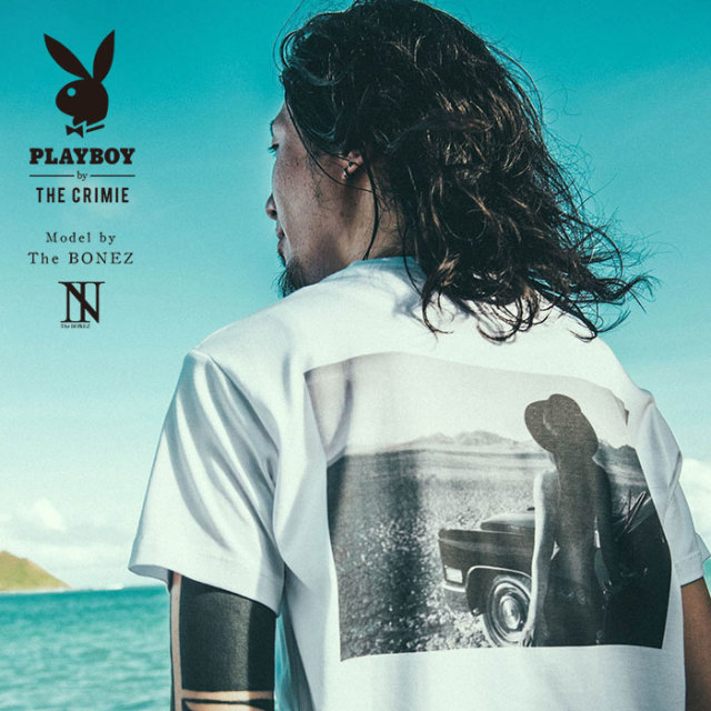 """CRIMIE PLAYBOY SERIES"" meets The BONEZ in Hawaii PLAYBOY CAR GIRL PHOTO T-SHIRT 【CR01-01K3-TE73】【Tシャツ】 【予約商品"