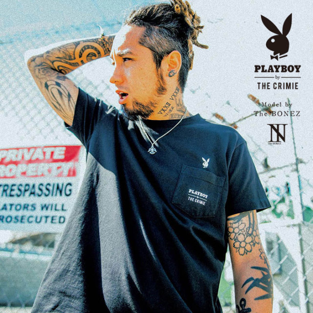 """""""CRIMIE PLAYBOY SERIES"""" meets The BONEZ in Hawaii PLAYBOY COVER PHOTO T-SHIRT 【CR01-01K3-TE75】【Tシャツ】 【PLAYBOY】【"""