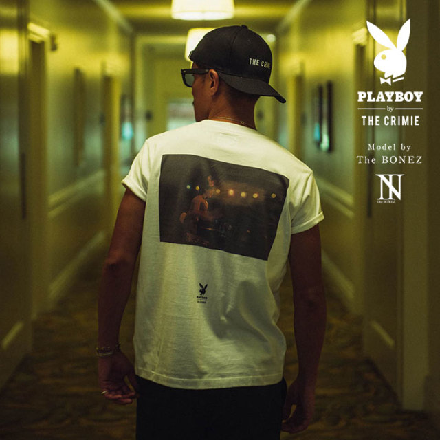 "【SALE30%OFF】 ""CRIMIE PLAYBOY SERIES"" meets The BONEZ in Hawaii PLAYBOY NIGHT CLUB PHOTO T-SHIRT 【CR01-01K3-TE74】【Tシ"