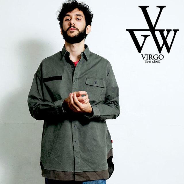VIRGO ヴァルゴ バルゴ LAYERED BIG MILITARY SHIRTS 【ミリタリーシャツ 長袖】【VG-SH-219】【2020SPRING&SUMMER先行予約】【キ