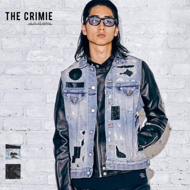 【先行予約】 CRIMIE クライミー LEATHER SUPER CRASH BORN FREE STRETCH DENIM VEST CR1-02A5-JK20 21AW デニムジャケット ベスト