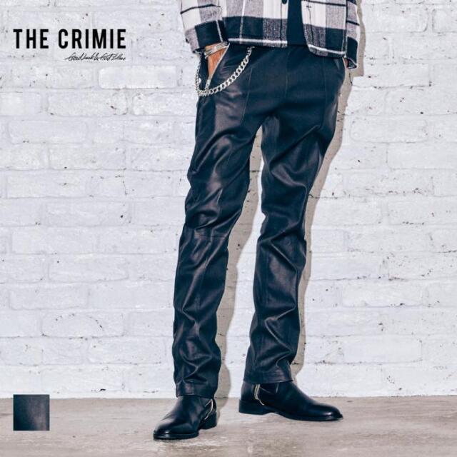 【取り寄せ対応】 CRIMIE クライミー LAMB LEATHER STRETCH TRACK PANTS CR1-02A5-PL01 21AW トラックパンツ スラックス レザー パン