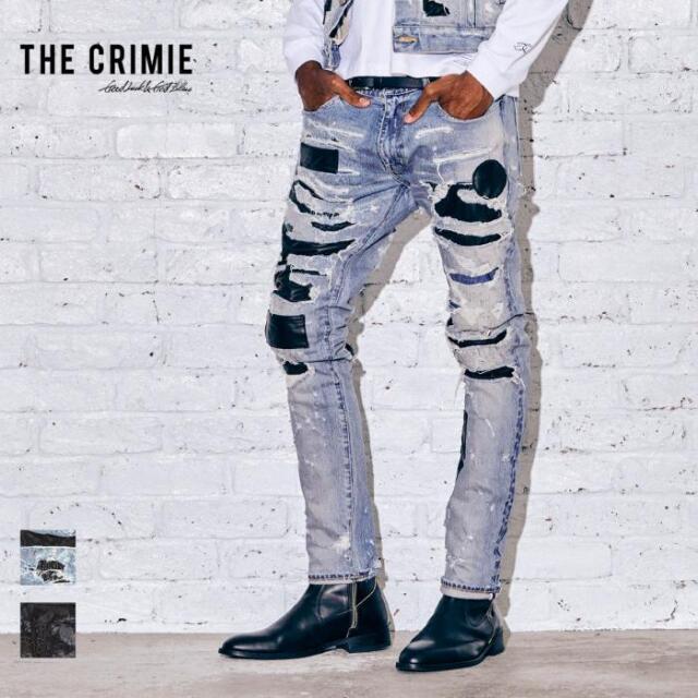【先行予約】 CRIMIE クライミー LEATHER SUPER CRASH BORN FREE STRETCH DENIM JEANS CR1-02A5-PL09 21AW デニムパンツ デニム パン