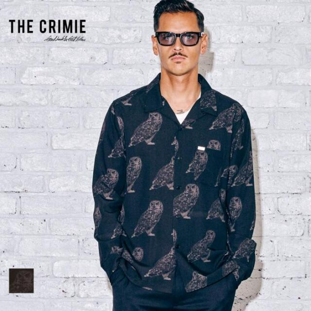 【取り寄せ対応】 CRIMIE クライミー OWL LONG SLEEVE SHIRT CR1-02A5-SL05 21AW シャツ オープンカラー 開襟 アロハシャツ レーヨン