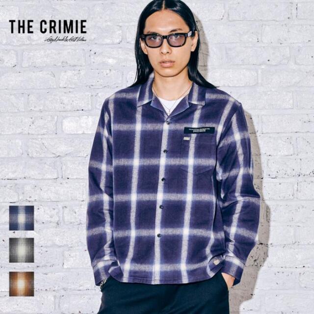 【取り寄せ対応】 CRIMIE クライミー SHAGGY OMBRE CHECK SHIRT CR1-02A5-SL06 21AW オープンカラーシャツ チェックシャツ オープン