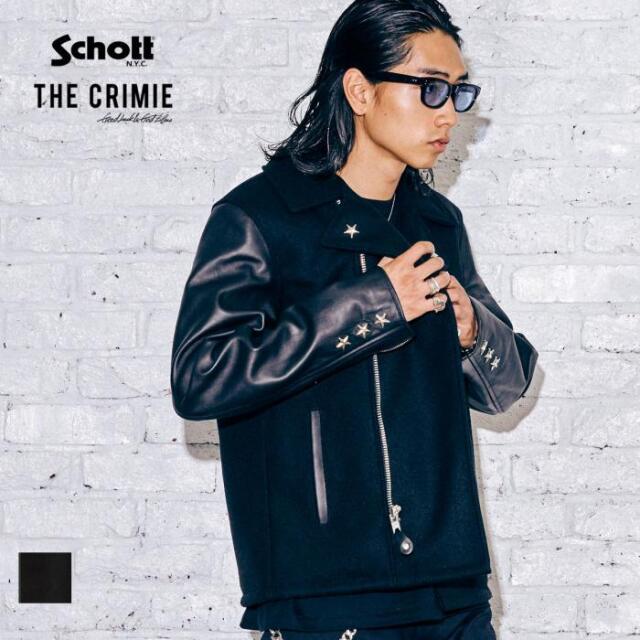 【取り寄せ対応】 CRIMIE クライミー SCHOTT x THE CRIMIE STAR STUDS RIDERS P COAT CR1-C2A5-JK02 21AW ライダース Pコート ジャケ