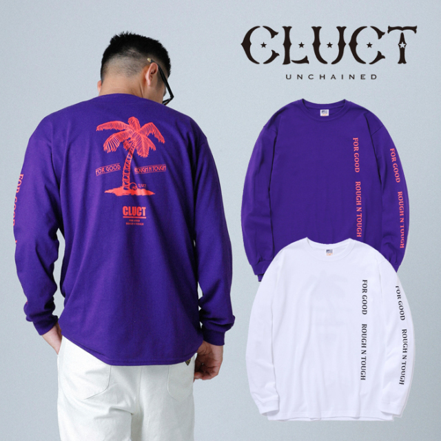 CLUCT(クラクト) CC-PALM TREE L/S 【2019HOLIDAY新作】【#03077】【ロングスリーブTシャツ】(袖プリント ロンT おしゃれ】【白