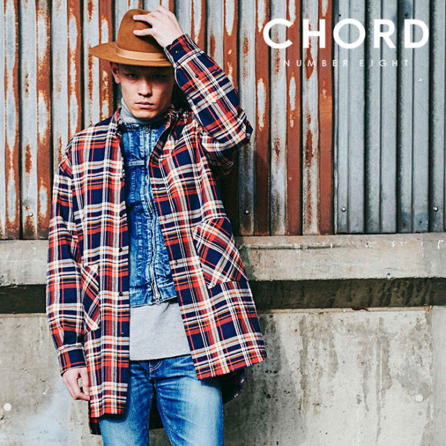 CHORD NUMBER EIGHT(コードナンバーエイト) HEAVY TWILL CHECK LONG SHIRT 【2019AUTUMN&WINTER先行予約】 【キャンセル不可】【C