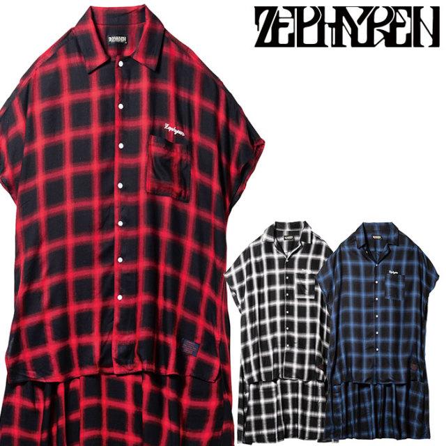 ZEPHYREN(ゼファレン) LONG CHECK SHIRT S/S 【ロングシャツ 半袖】【Z19UD06】【2020SUMMER先行予約】【キャンセル不可】