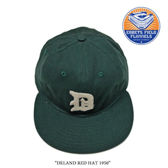 EBBETS FIELD FLANNELS(エベッツフィールドフランネルズ) DELAND RED HAT 1950 【EBBETS FIELD FLANNELS コットンツイルキャップ】
