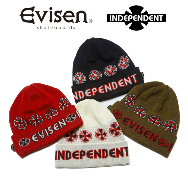 Evisen Skateboards (エヴィセン スケートボード) INDEPENDENT x EVISEN BEANIE 【ビーニー ニットキャップ 帽子】【コラボレーシ