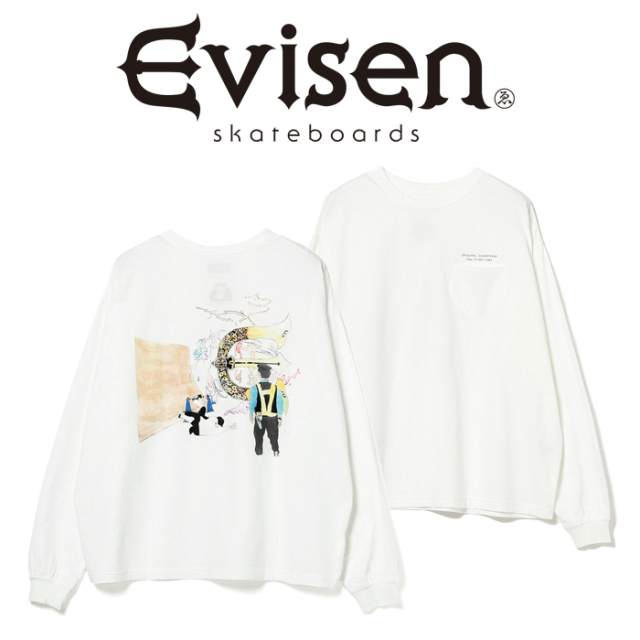Evisen Skateboards (エヴィセン スケートボード)× HOLE AND HOLLAND ROLL IN LS T-SHIRT(WHITE) 【ロングスリーブ ロンT】【2020F