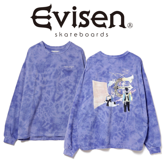 Evisen Skateboards (エヴィセン スケートボード)× HOLE AND HOLLAND ROLL IN LS T-SHIRT(TYEDYE) 【ロングスリーブ ロンT】【2020