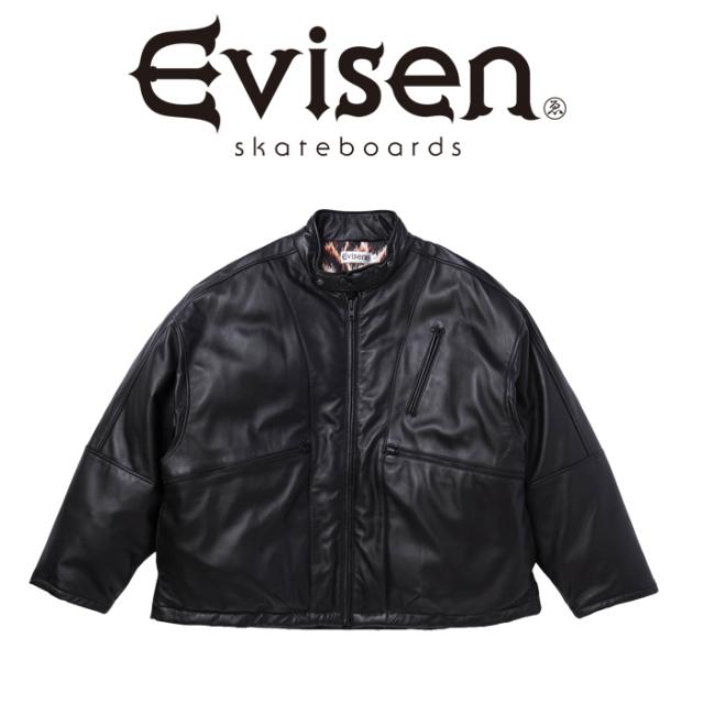 【EVISEN】 Evisen Skateboards (エヴィセン スケートボード)  SINGLE LEATHER DOWN JKT   【レザ-ダウンジャケット】【エビセン