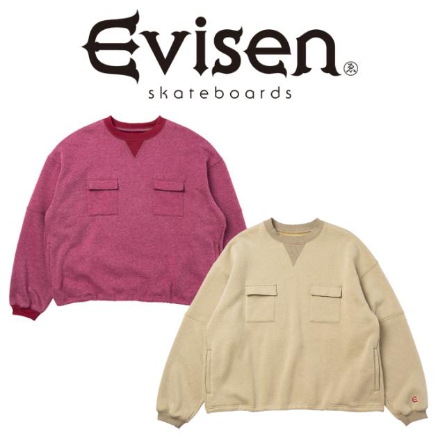 【EVISEN】 Evisen Skateboards (エヴィセン スケートボード)  DOUBLE FLAP CREW SWEAT   クルーネック スウェット エビセン スケ