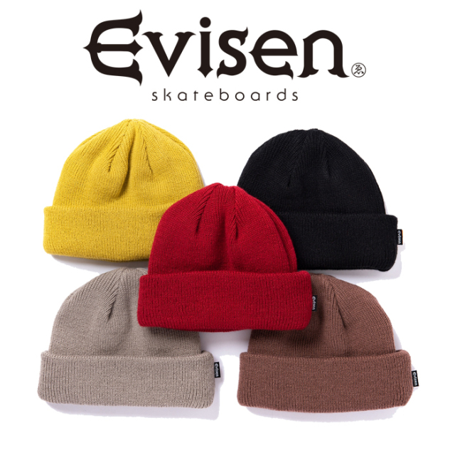 【EVISEN】 Evisen Skateboards (エヴィセン スケートボード)  PK CAP (THE COLOR ダブルネーム)  【ビーニー ニットキャップ】【