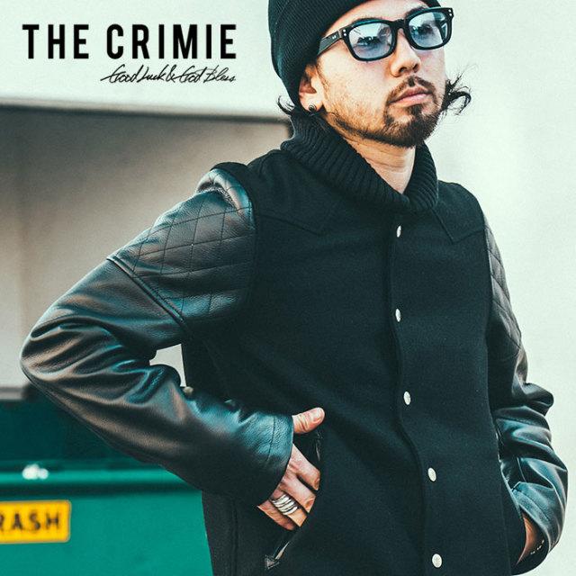 【SALE50%OFF】 CRIMIE(クライミー)スタジャン アウター ジャケット 牛革100%【C1H5-JK05】【XS S M L XL XXL】【ブラック ブルー